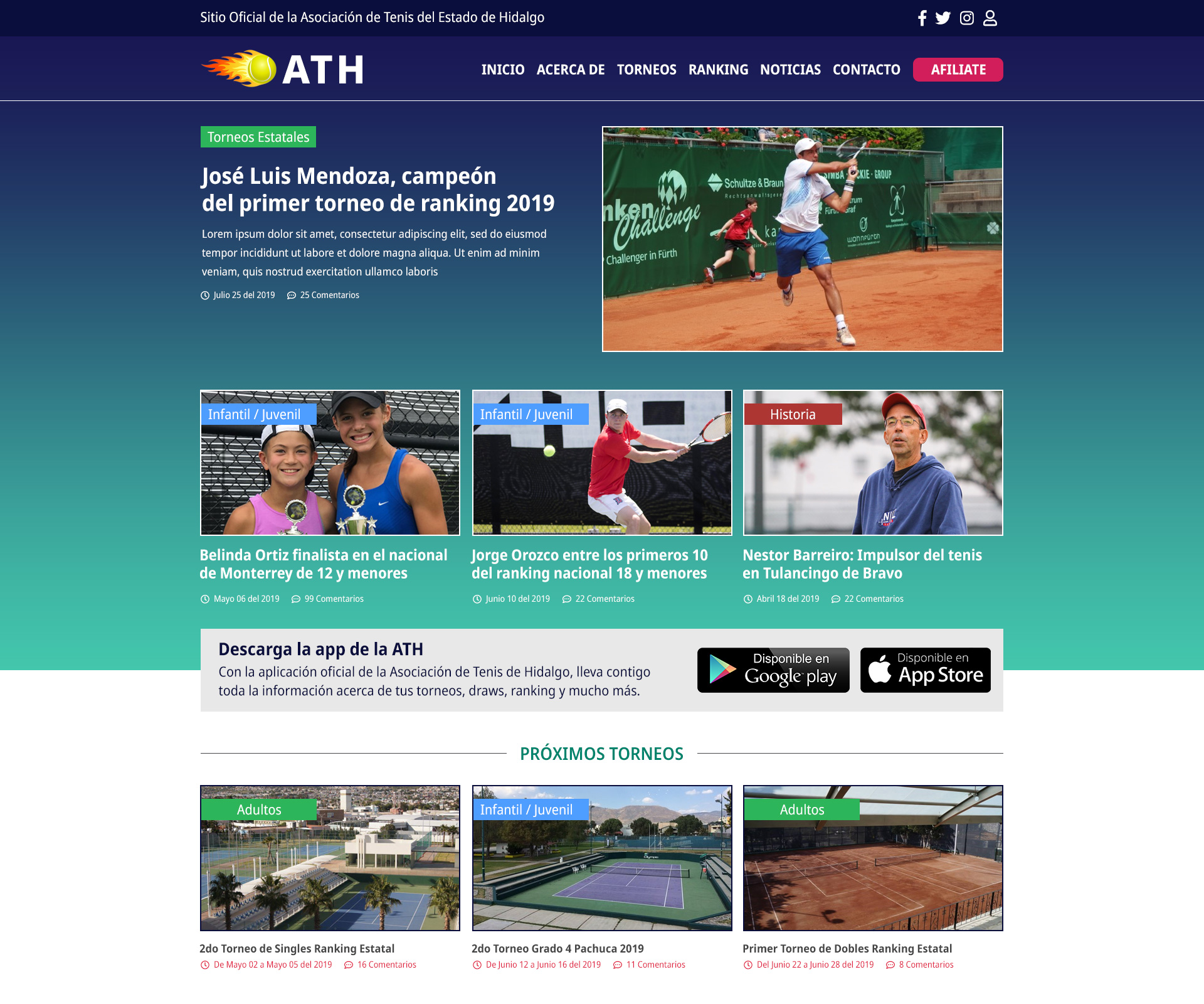 Asociación de Tenis de Hidalgo – Website and Facebook