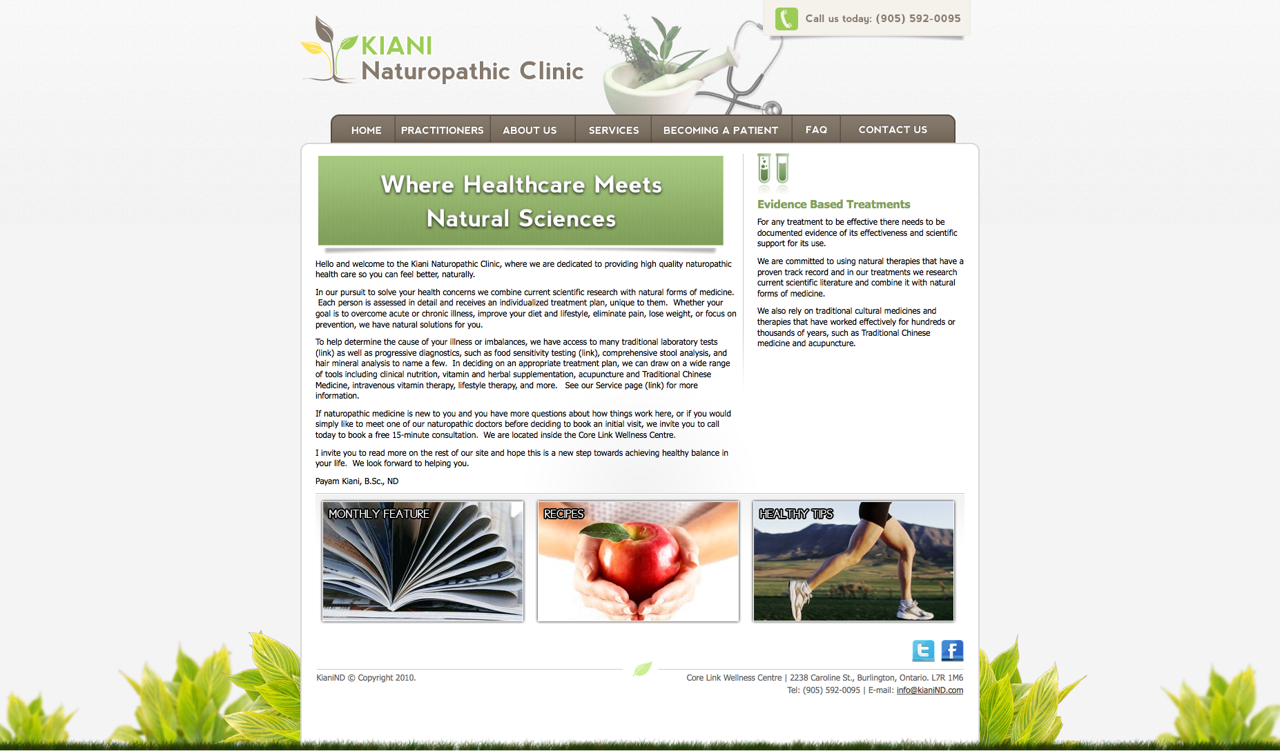 Kiani Naturopathic Clinic – Website